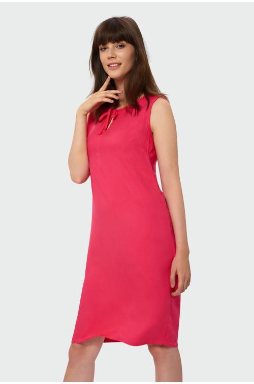 Wiskozowa sukienka z wiązanym dekoltem