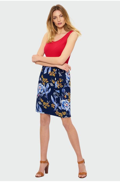 Spodnica w kwiaty z ozdobnym wiązaniem