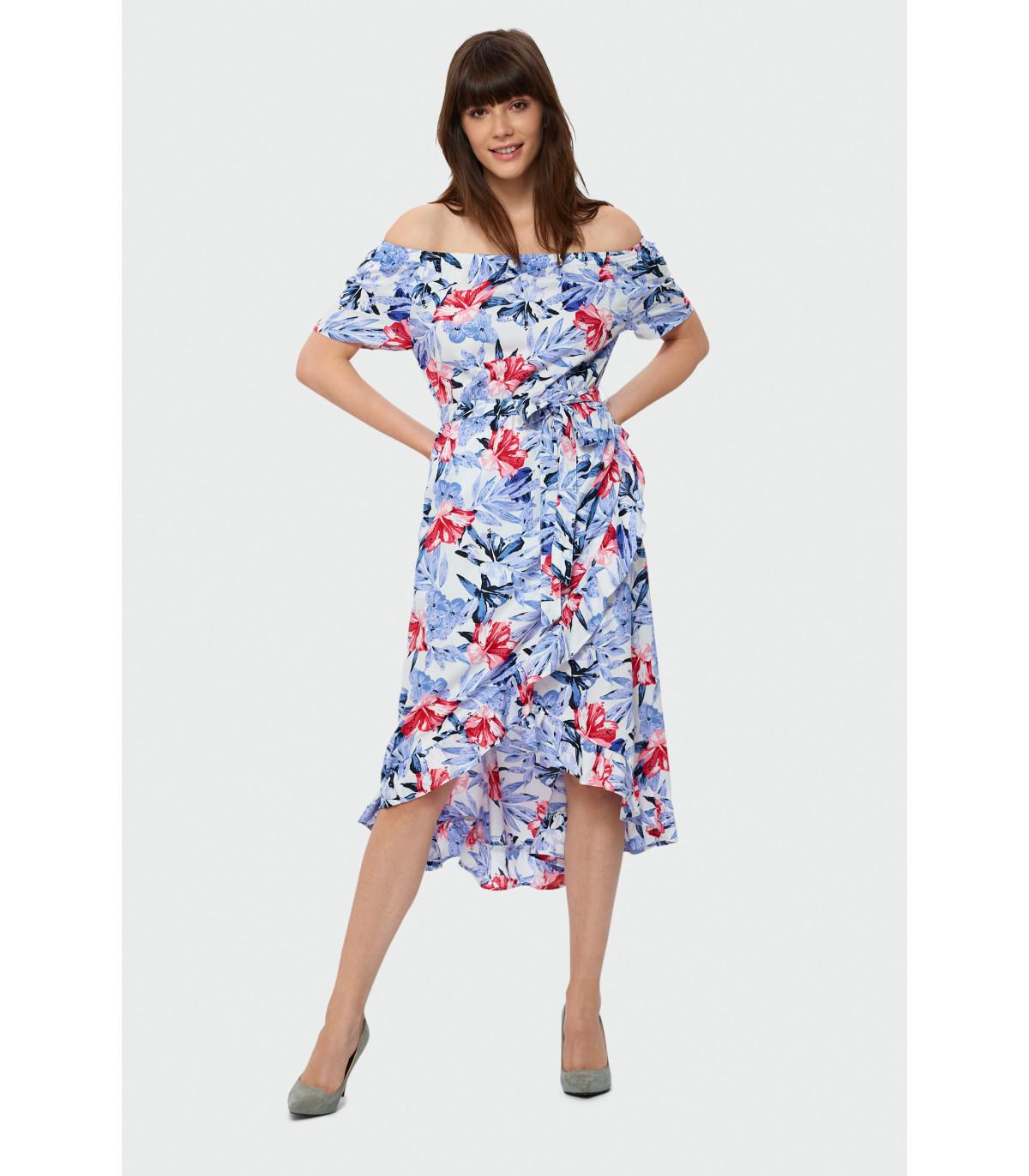 52e3ed18b0 Wzorzysta sukienka z falbaną Rozmiar 38 Kolor S19FLW82
