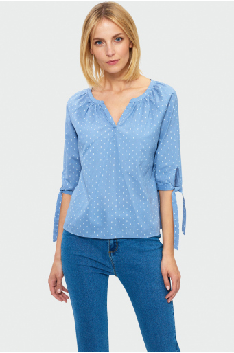 Bawełniana bluzka z wiązaniem