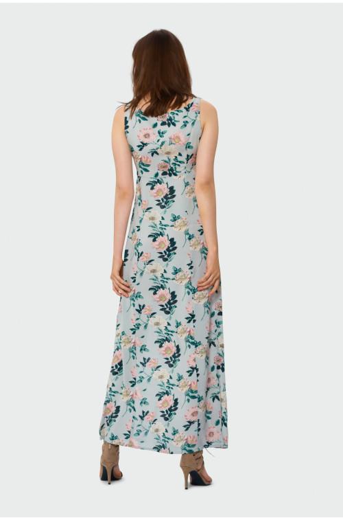 Długa sukienka z wiązaniem przy dekolcie