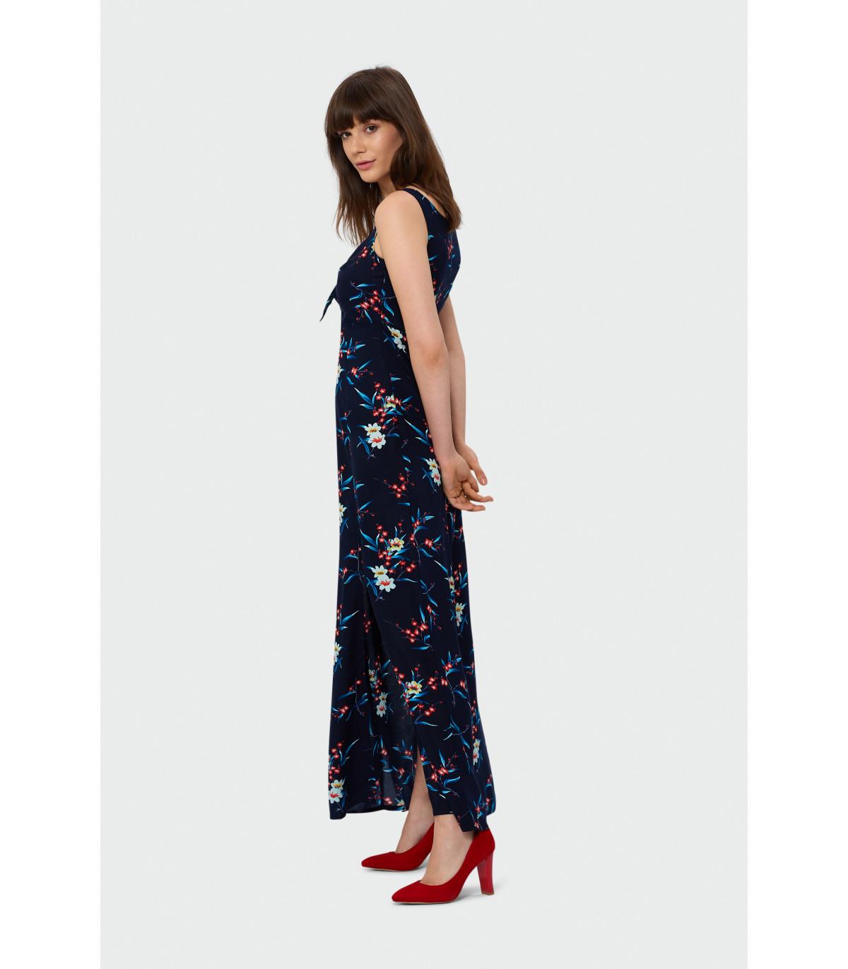 3858983257 Długa sukienka z wiązaniem przy dekolcie Rozmiar 40 Kolor S19FLW50
