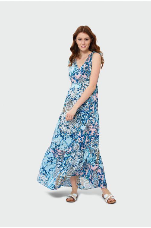Długa sukienka z falbanami