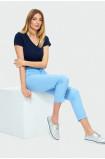 Błękitne spodnie z paskiem