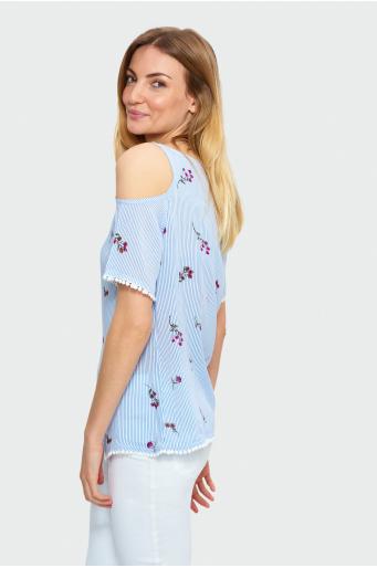 Wiskozowa bluzka z okrytymi ramionami