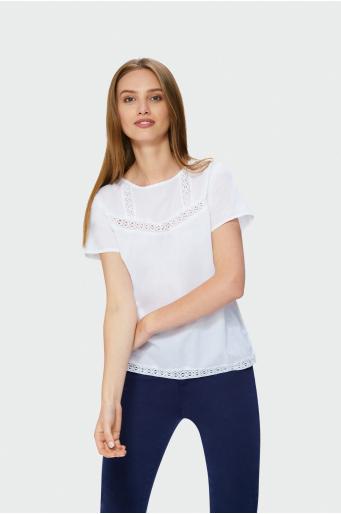 Bawełniana bluzka z koronką