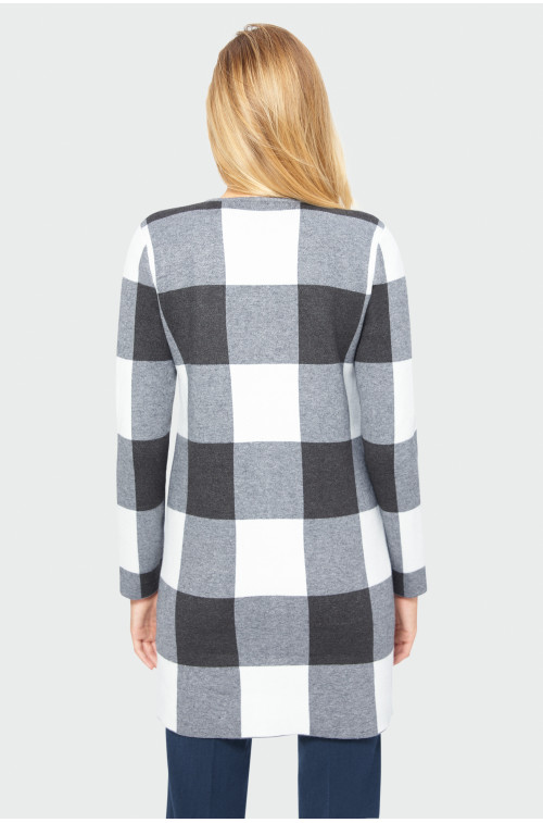 Płaszcz swetrowy w kratę