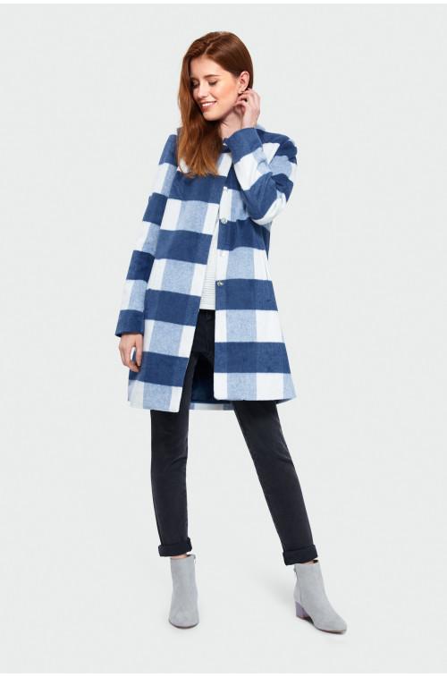 Płaszcz o prostym kroju w kratę