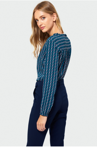 Wzorzysta bluzka z wiskozy