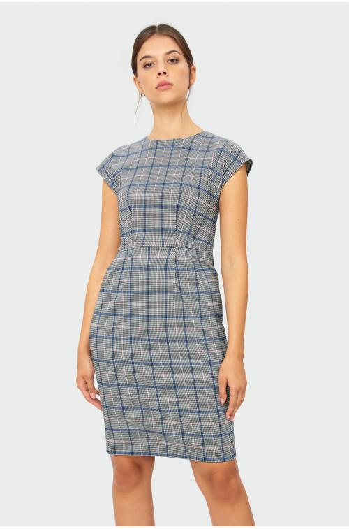 Sukienka z zakładkami w kratę