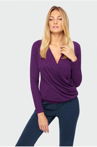Sweter z kopertowym dekoltem