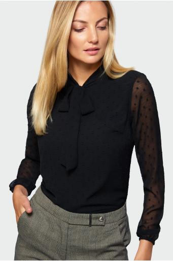 Czarna bluzka z wiązaniem