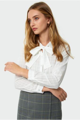 Wiskozowa bluzka z ozdobnym wiązaniem