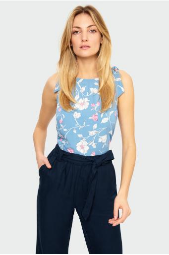 Wiskozowa bluzka z wiązaniami na ramionach