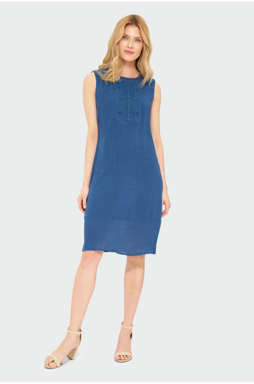 Wiskozowa sukienka z ozdobną wstawką