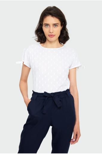 Bawełniana bluzka z wiązanymi rękawami
