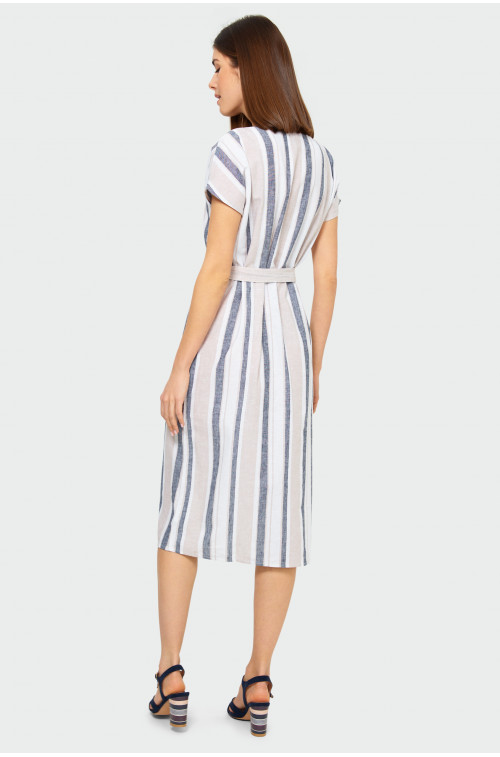 Lniana sukienka w paski