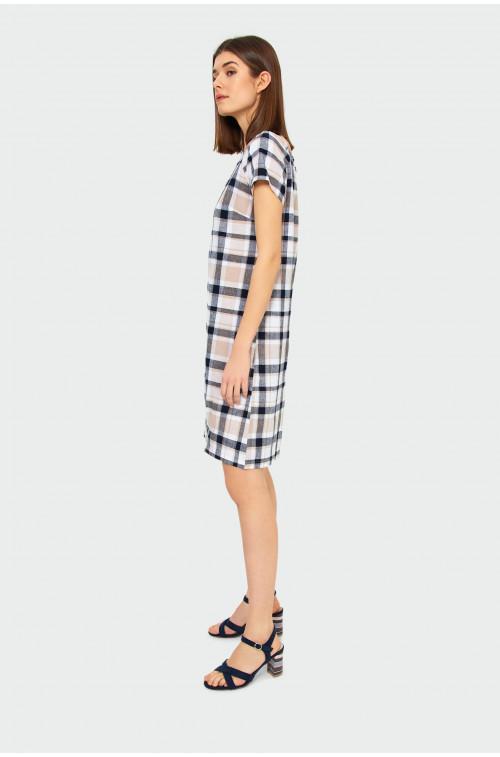 Lniana sukienka w kratę