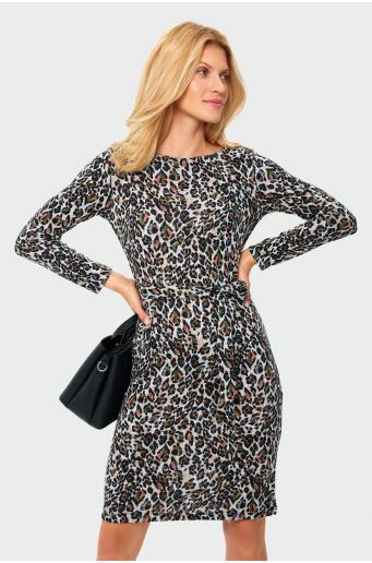 Sukienka z nadrukiem i paskiem