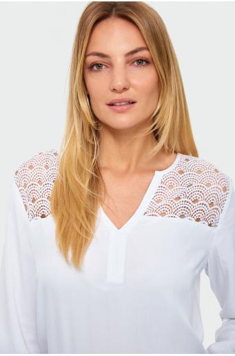 Wiskozowa bluzka z ozdobną koronką