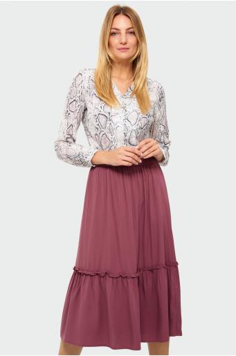 Wiskozowa spódnica z falbaną