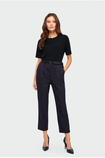 Spodnie z zakładkami w kratę