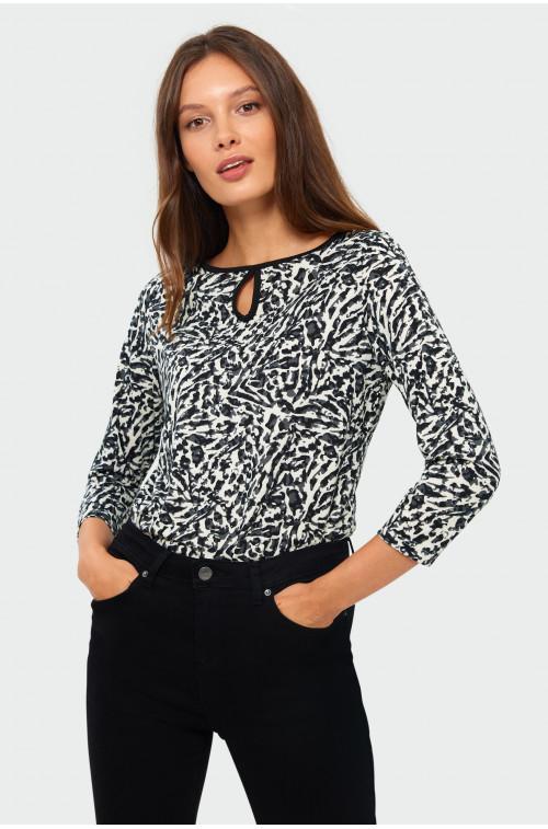 Dzianinowa bluzka z nadrukiem i kontrastowa lamówką