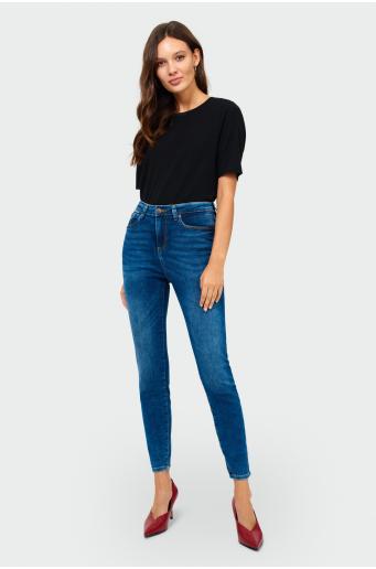 dopasowane, denimowe spodnie