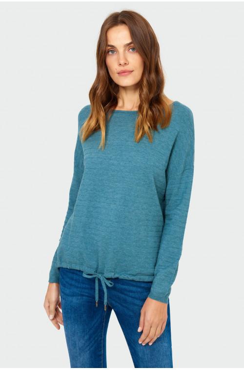 Sweter o luźnym kroju z troczkiem na dole