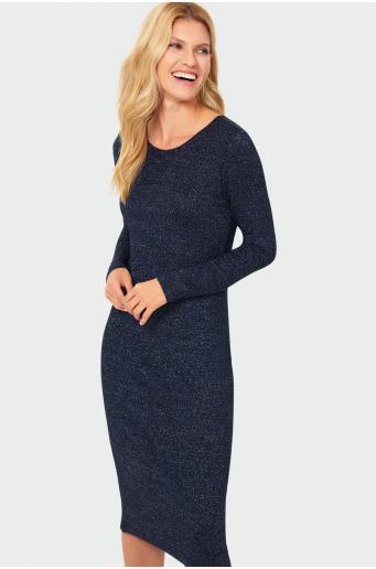 Dopasowana sukienka z błyszczącej dzianiny