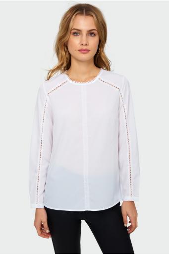 Elegancka bluzka z kontrastowymi taśmami