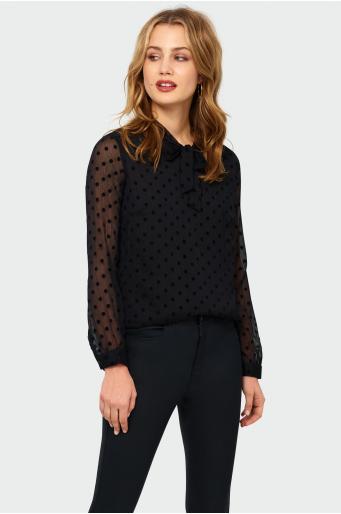Klasyczna bluzka z wiązaniem przy dekolcie