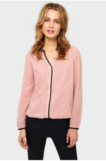 Elegancka bluzka z kontrastową lamówką