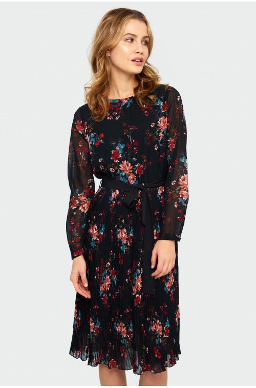 Elegancka plisowana sukienka z nadrukiem