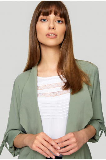 Elegancka, wiskozowa bluzka z ozdobnymi wstawkami
