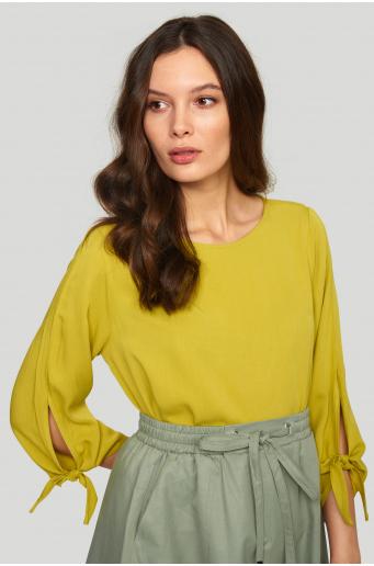 Bluzka z lyocell'u, z wiązaniem przy rękawach
