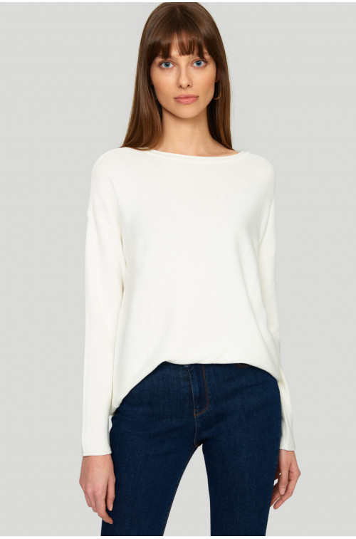 Wiskozowy sweter z troczkiem