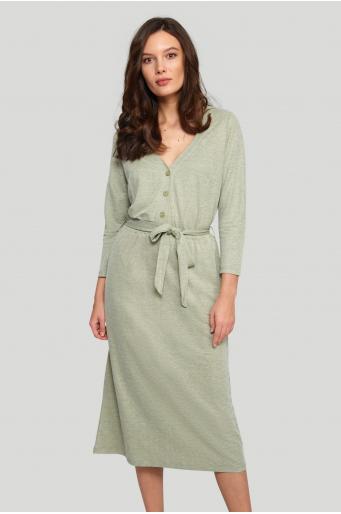 Wiskozowa sukienka z paskiem w talii