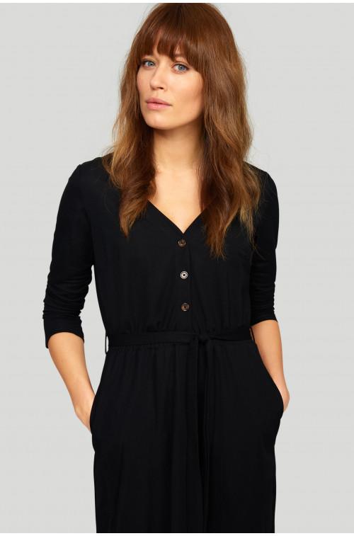Wiskozowa sukienka z dekoltem V  i paskiem w tali oraz z gumką