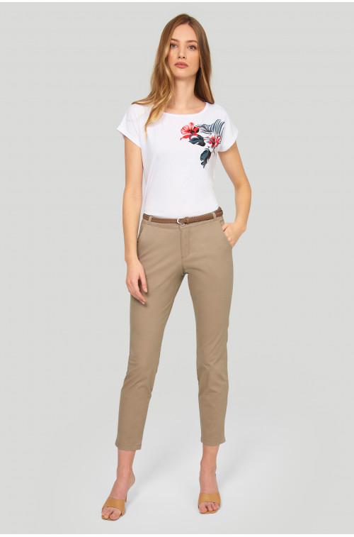 Bawełniane spodnie typu chino, pasek z ekologicznej skóry
