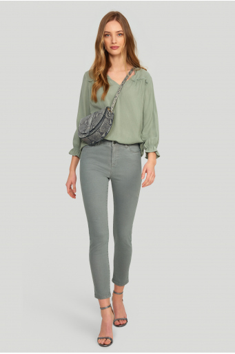 Bawełniane, dopasowane spodnie