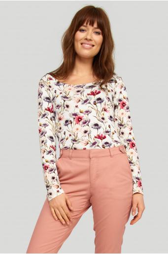 Wiskozowa, dzianinowa bluzka z nadrukiem