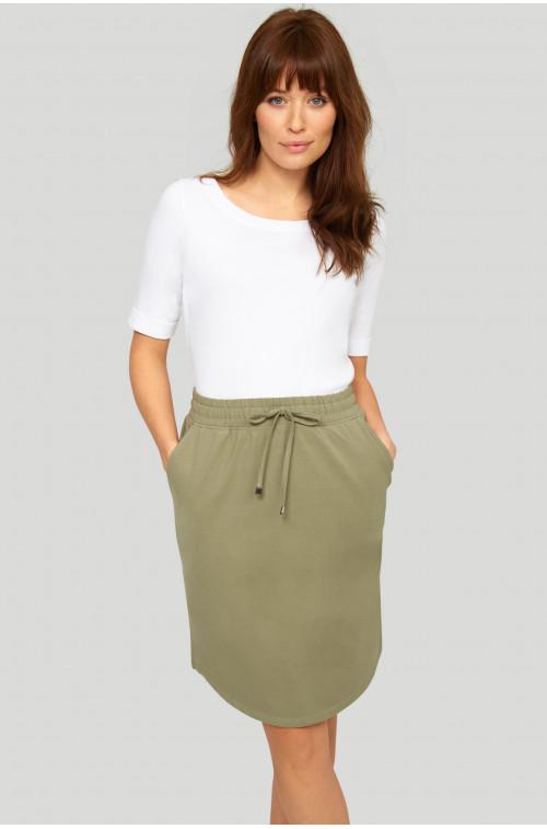 Bawełniana, dzianinowa spódnica z troczkiem