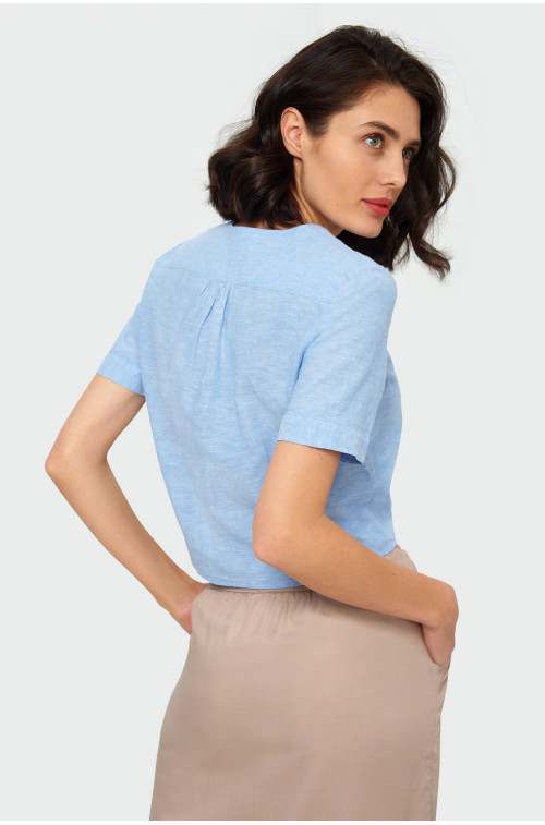 Lniana bluzka z wiązaniem z przodu, zapinana na guziki