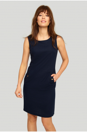 Lniana sukienka o luźnym fasonie