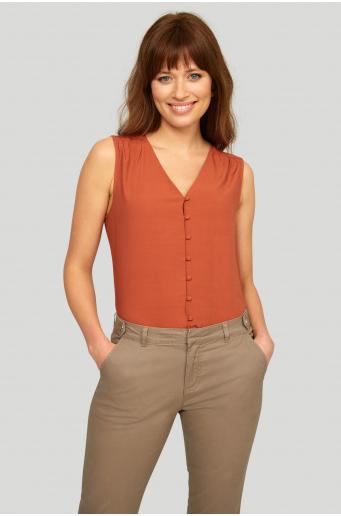 Luźna bluzka zapinana na guziczki, asymetryczny tył