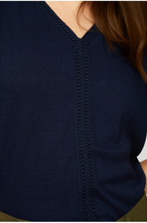 Dzianinowa bluzka z ozdobnymi wstawkami