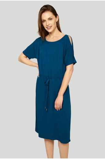 Wiskozowa sukienka z troczkiem