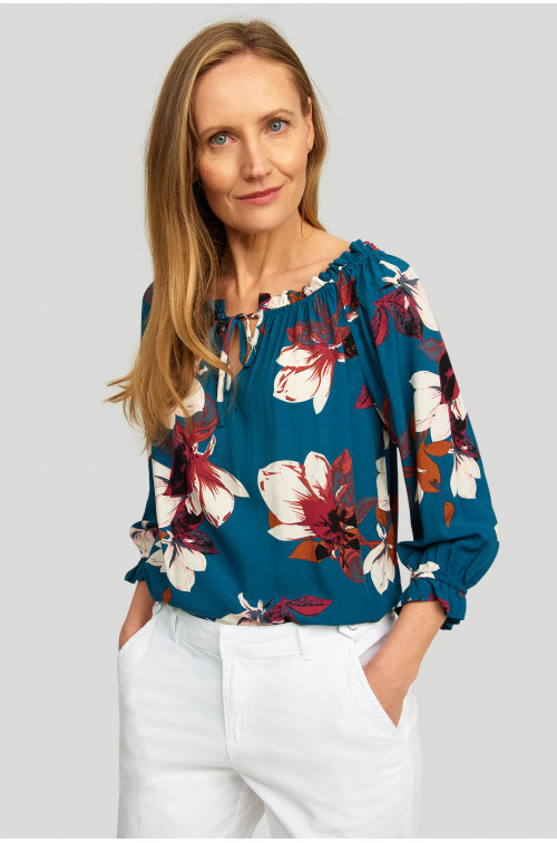 Wiskozowa bluzka z dekoltem typu carmen