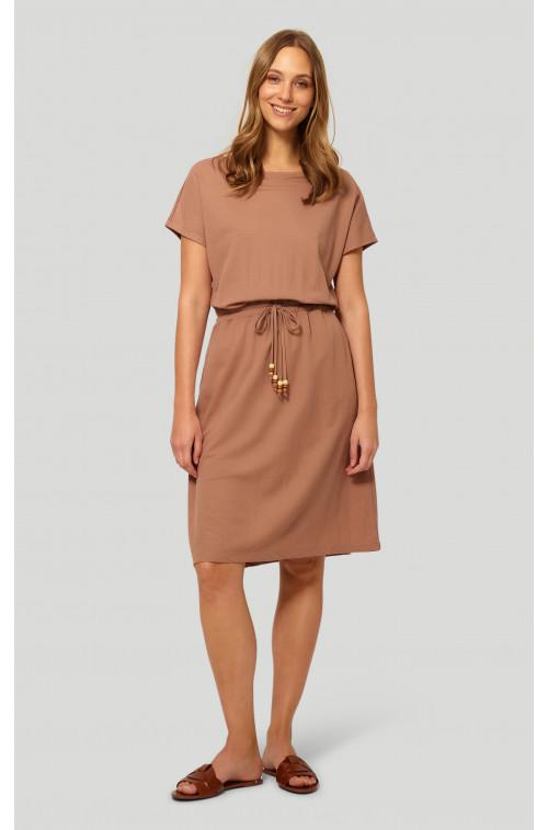 Dzianinowa wiskozowa sukienka z troczkiem w pasie